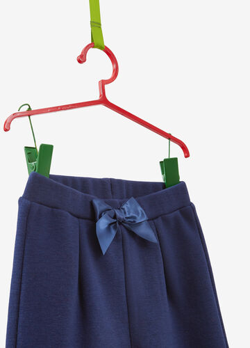 Cotton blend trousers with bow