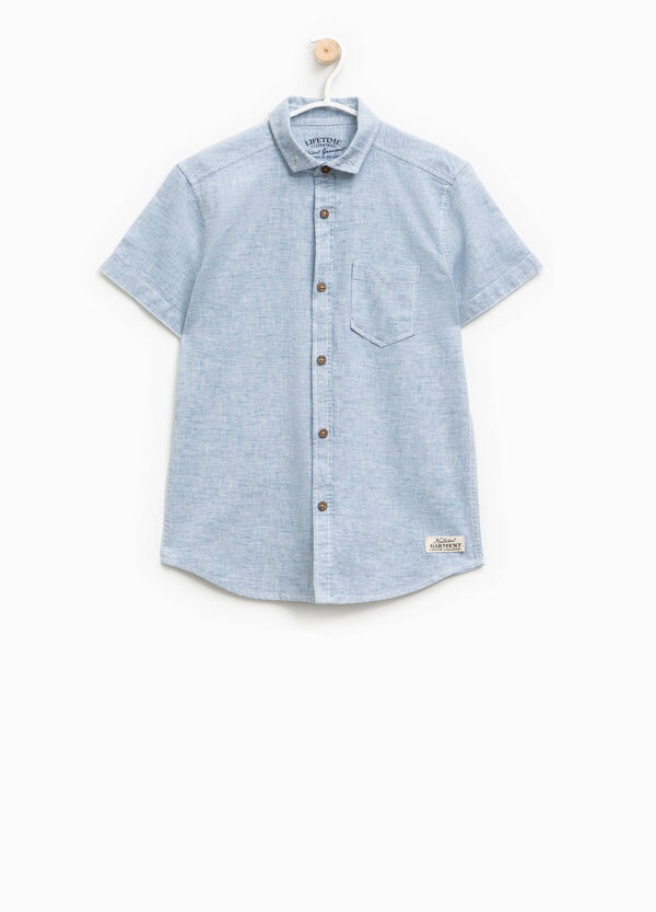 Striped linen shirt with pocket | OVS