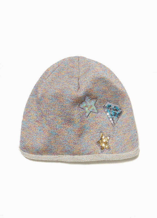 Jersey beanie cap with sequins