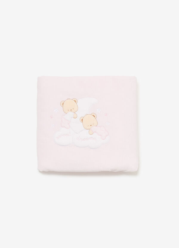 Blanket with teddy bear patch and pattern