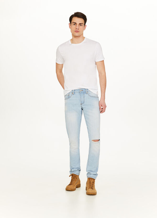 Straight-fit ripped jeans