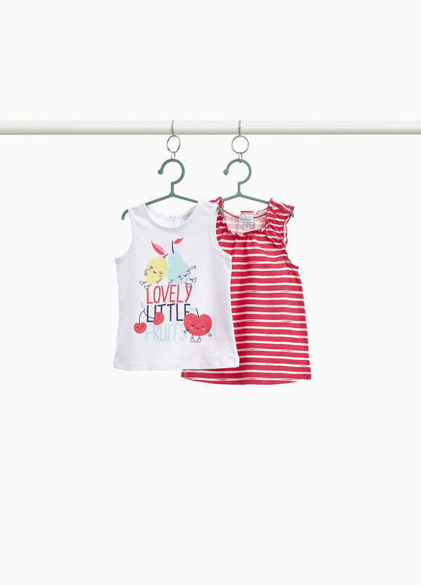 Two-pack printed and striped tops in 100% cotton