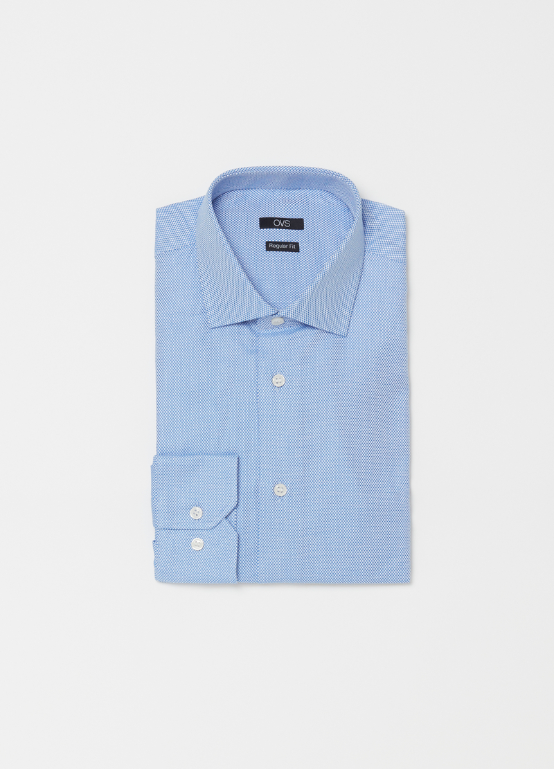 Regular-fit shirt with semi-cutaway collar image number null