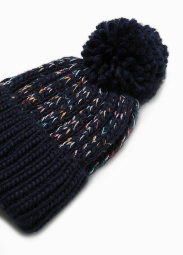 Knitted two-tone hat with pompoms | OVS