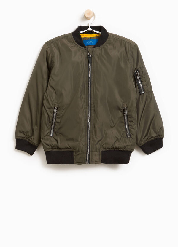 Solid colour bomber jacket with zip | OVS