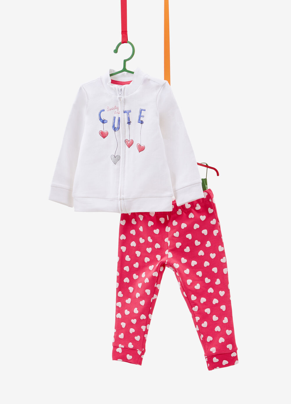 Cotton tracksuit with glitter and hearts print