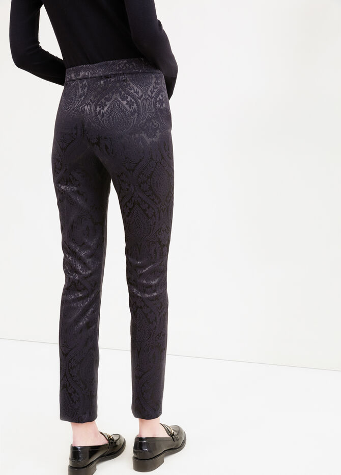 Stretch trousers with paisley pattern