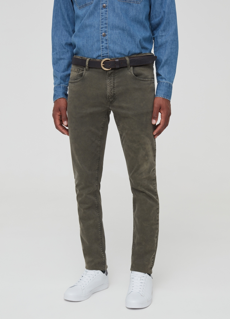 Solid colour trousers with five pockets image number null