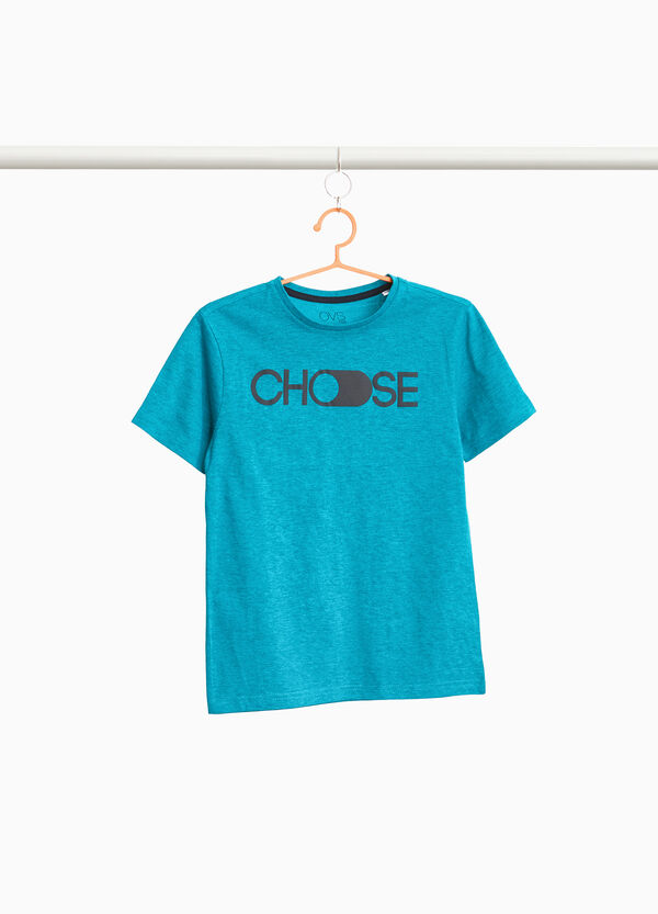 Cotton and viscose T-shirt with printed lettering