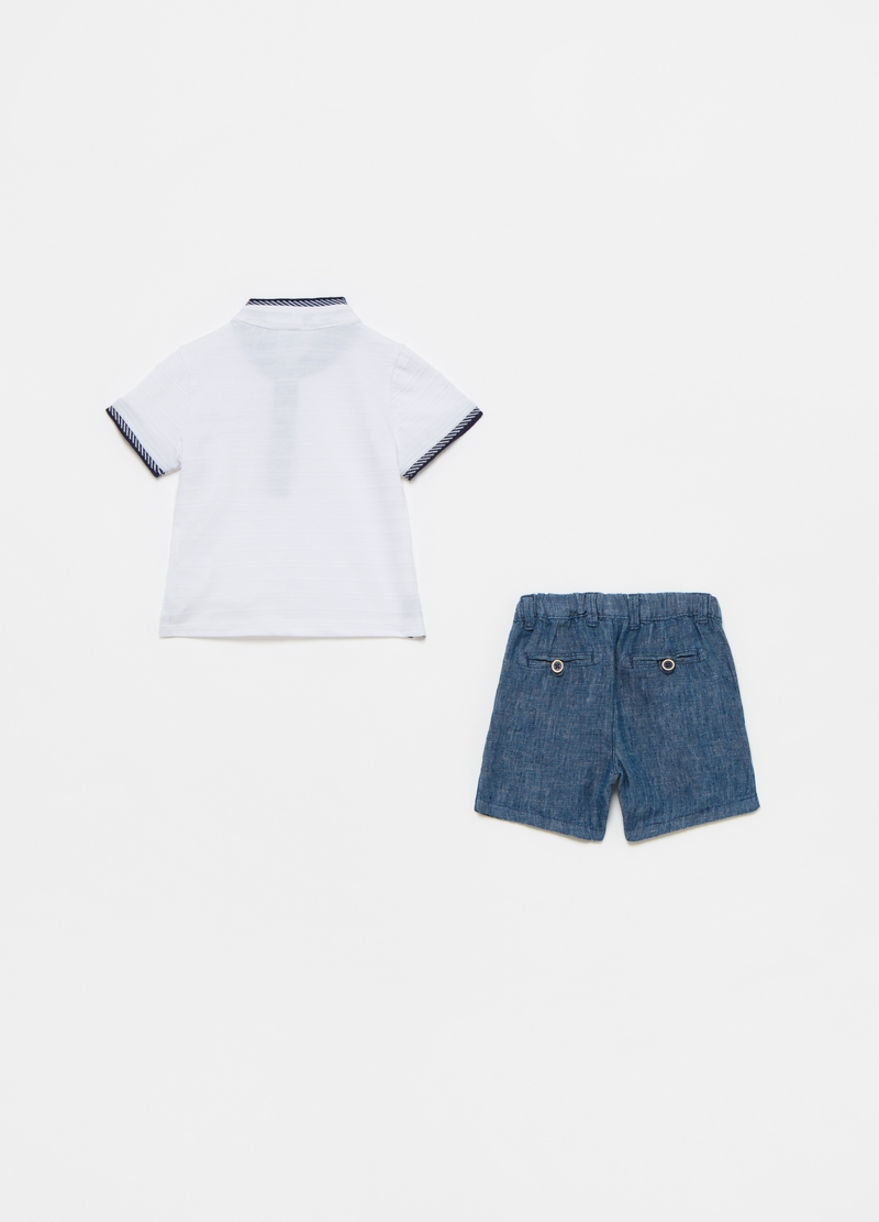 Piquet polo shirt and linen shorts set image number null
