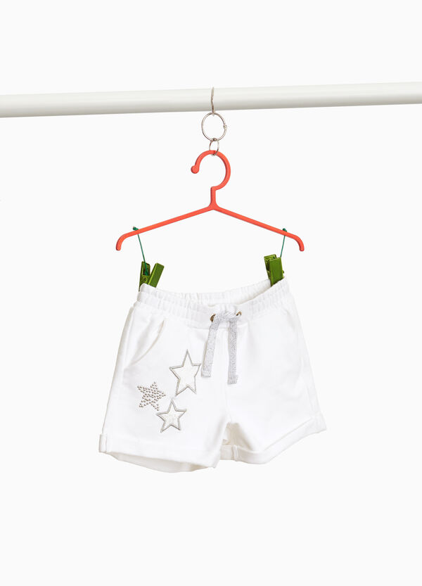 Stretch cotton shorts with stars and studs