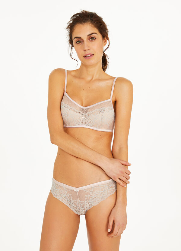 Stretch lace briefs with bow