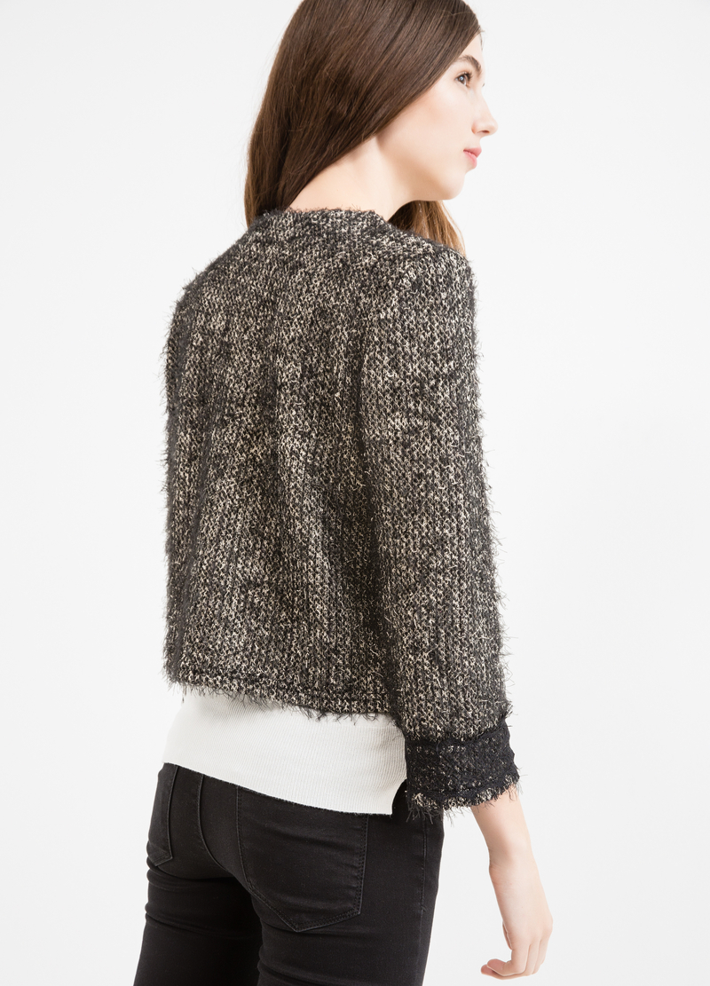 Cotton blend cardigan with shaggy insert. image number null