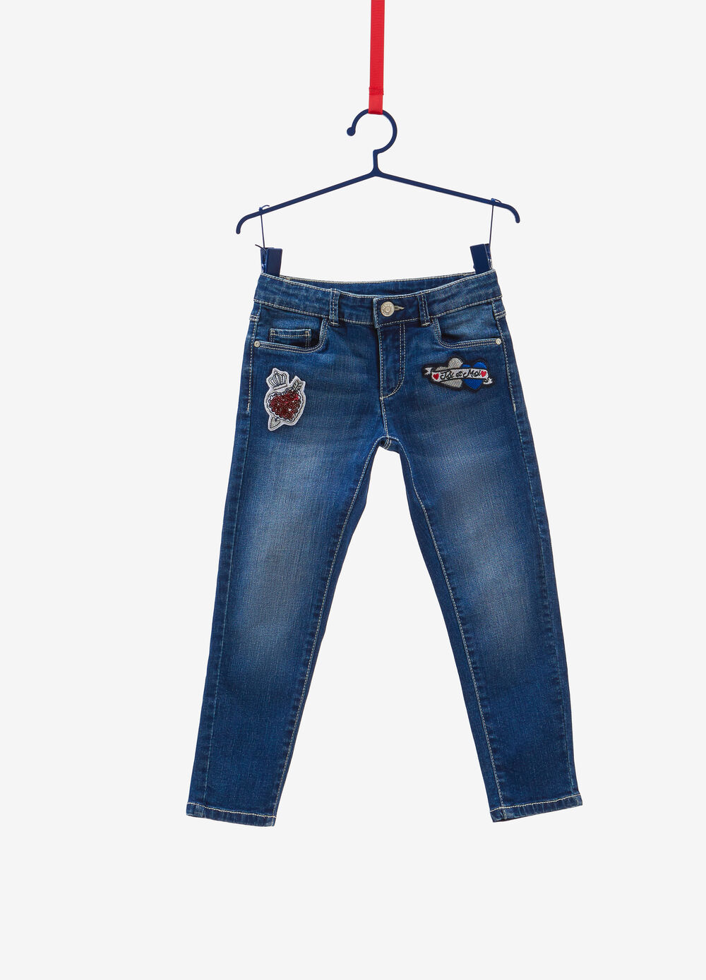 Skinny-fit faded jeans with patches