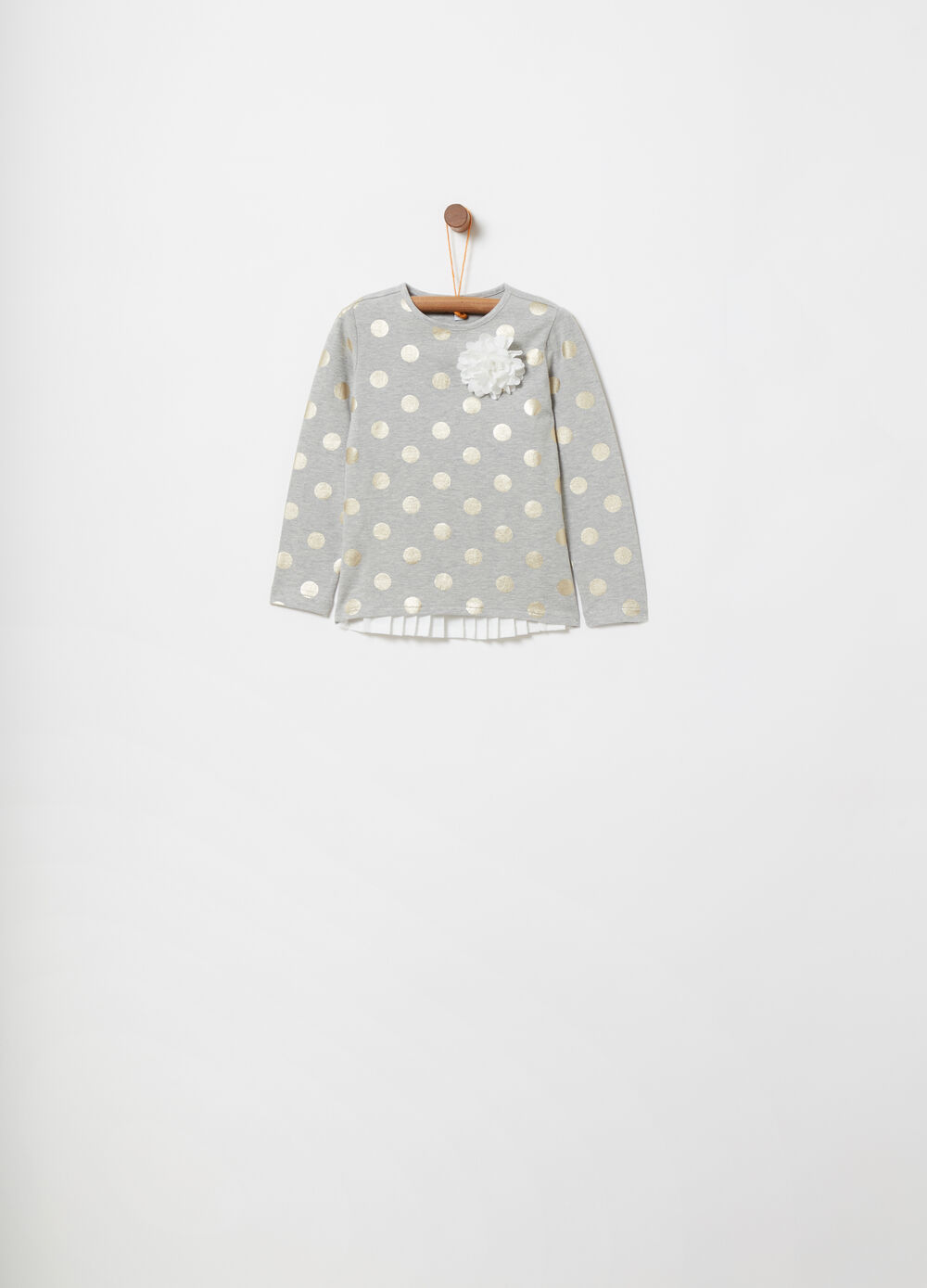 T-shirt with pleated panel and polka dot pattern