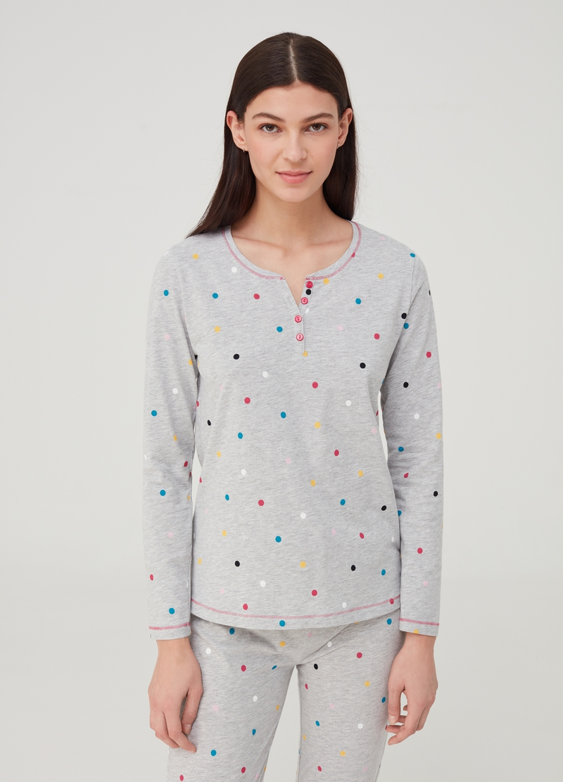 Pyjama top in organic cotton and viscose image number null