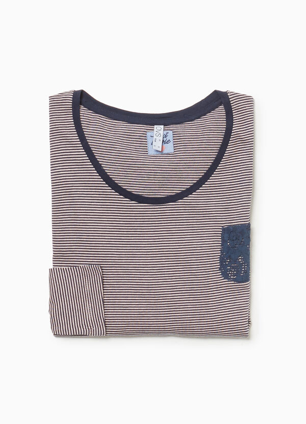 Pyjama top in 100% cotton with stripes