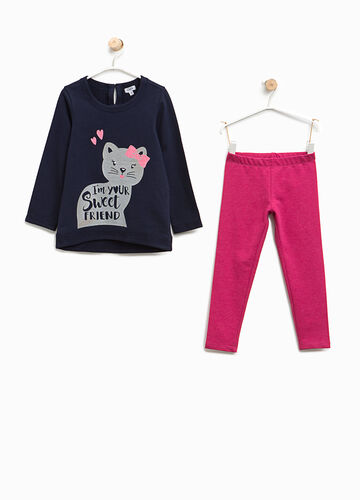 Cotton outfit with cat print