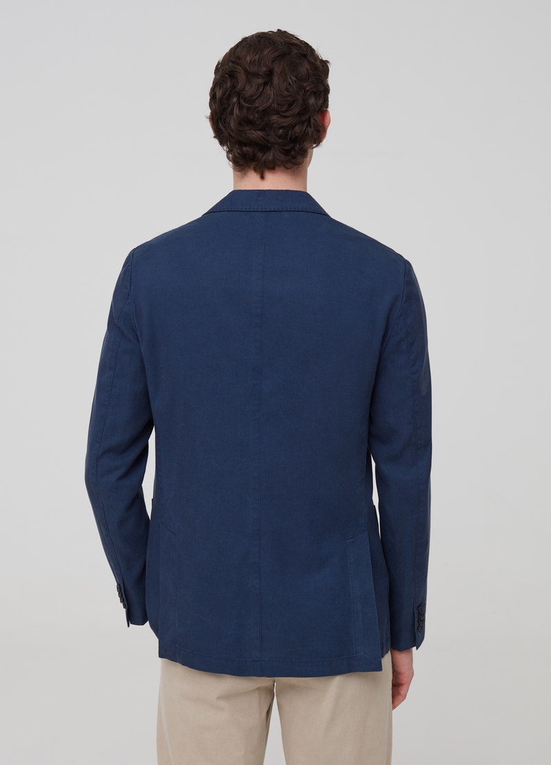 Blazer in Lyocell e cotone con revers image number null