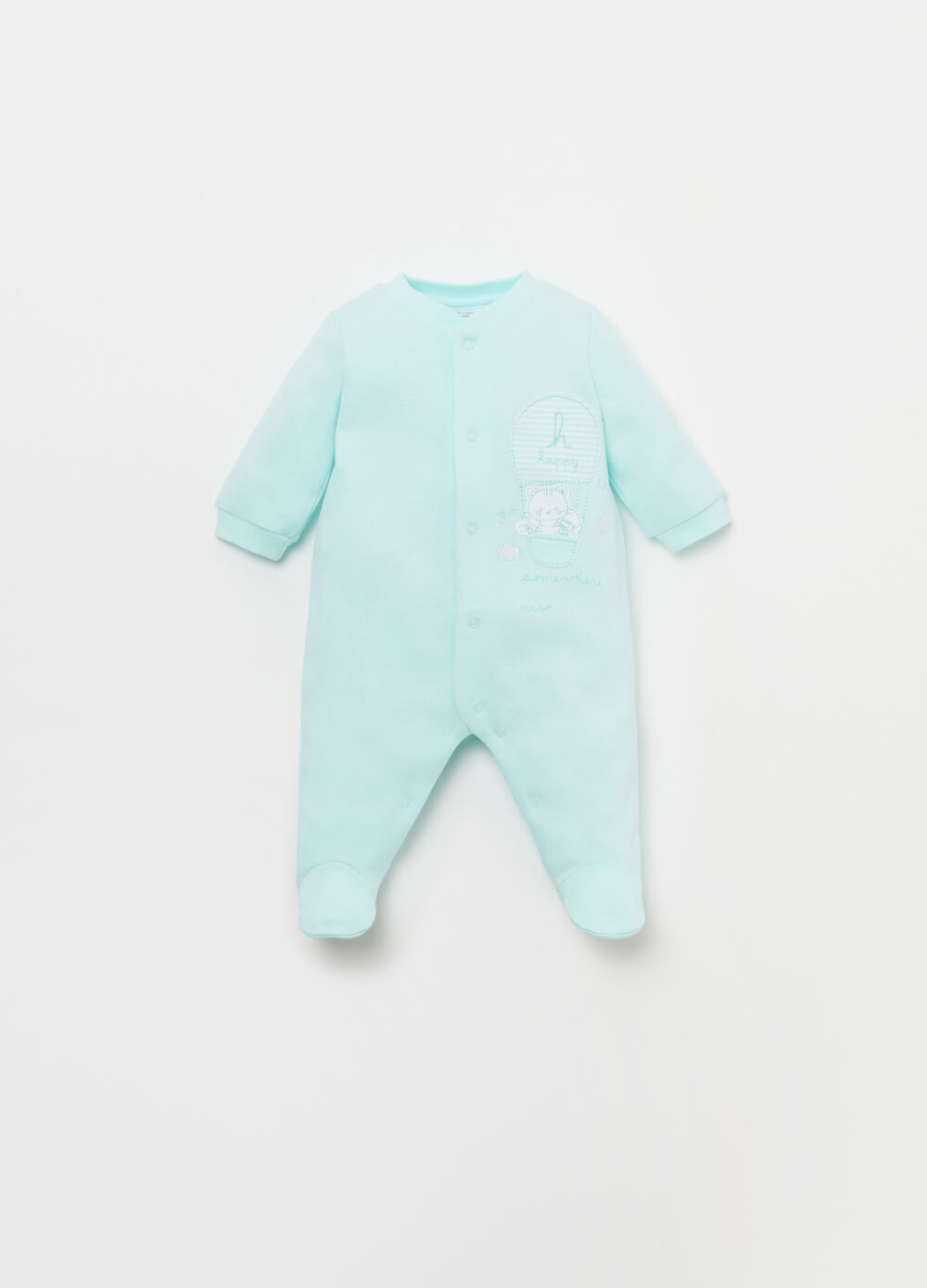 100% cotton onesie with kitten motif and embroidery