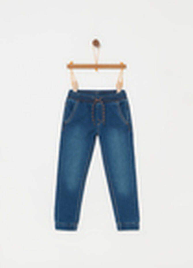 Jeans stretch con coulisse e tasche