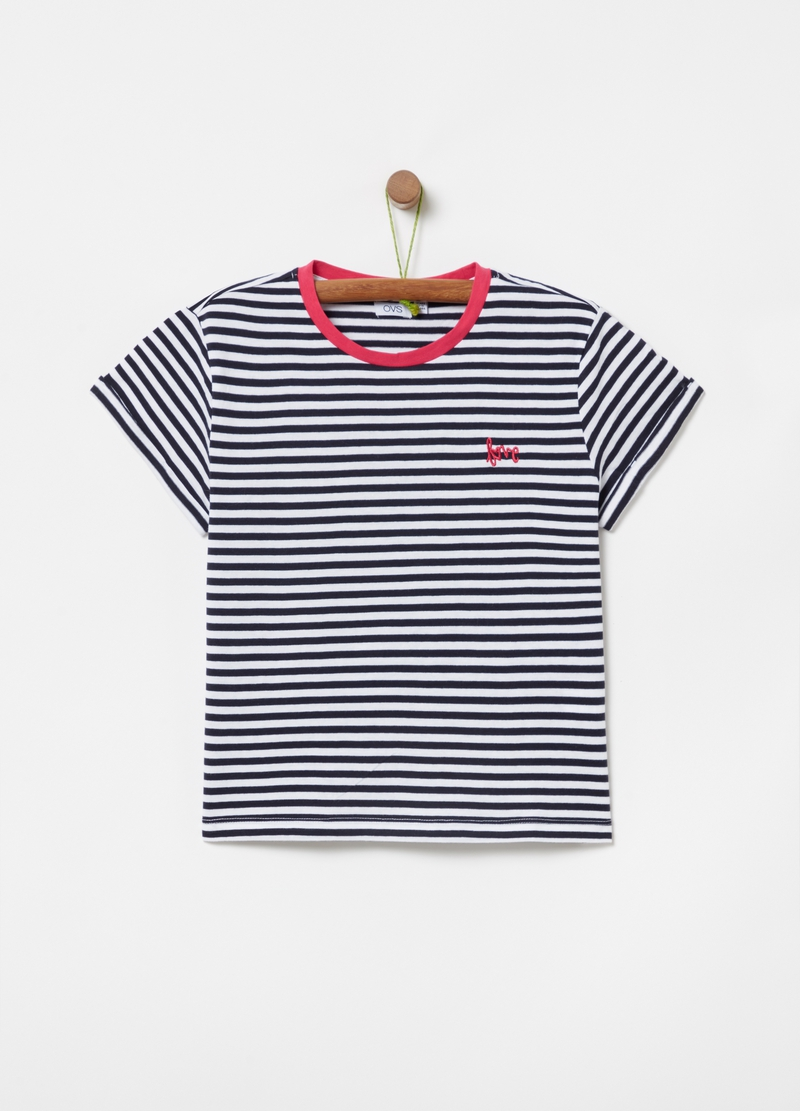 Striped T-shirt with lettering embroidery image number null