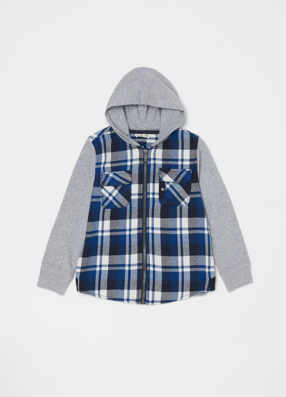Check cotton shirt with hood