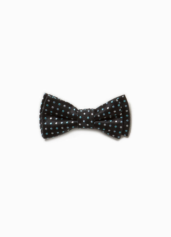 Bow tie with diamond weave and polka dot pattern. | OVS