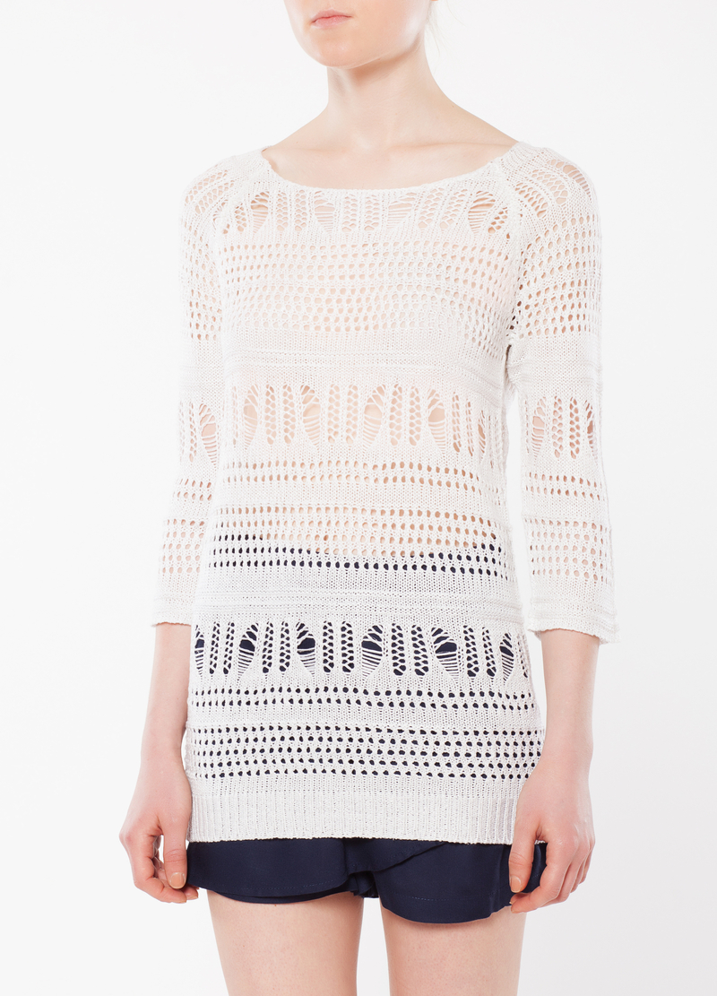 Openwork knit sweater image number null