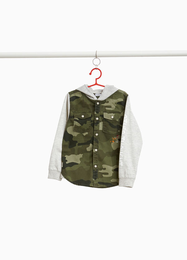 Camouflage shirt with hood