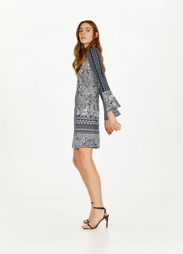 Stretch dress with paisley pattern