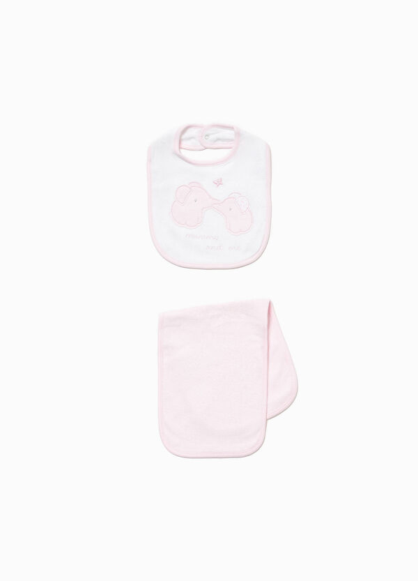 Elephant towel and bib set