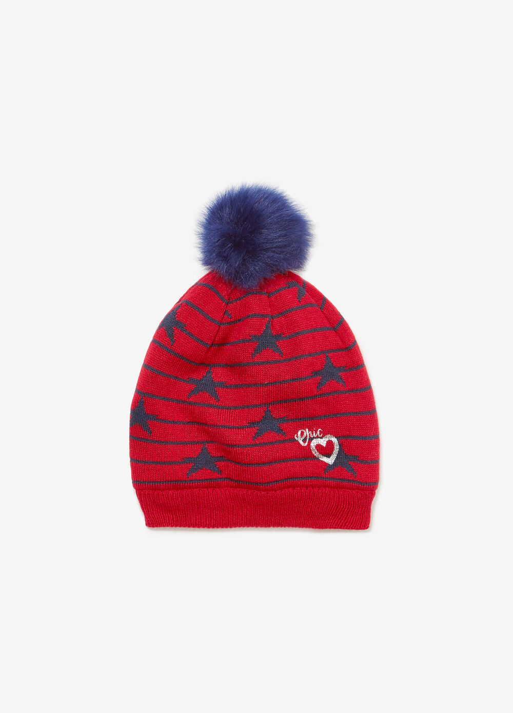 Knitted beanie cap with stripes and stars