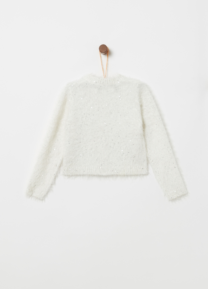 Cardigan tricot pelliccetta e paillettes image number null