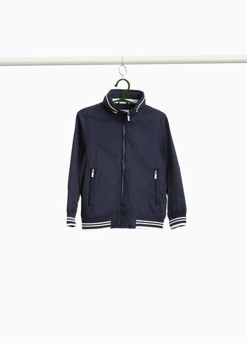 Jacket with lettering print trim