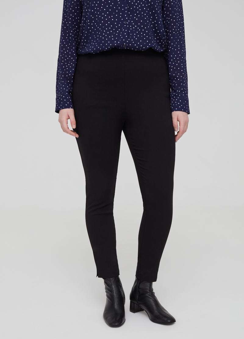 Curvy high-waisted stretch trousers image number null