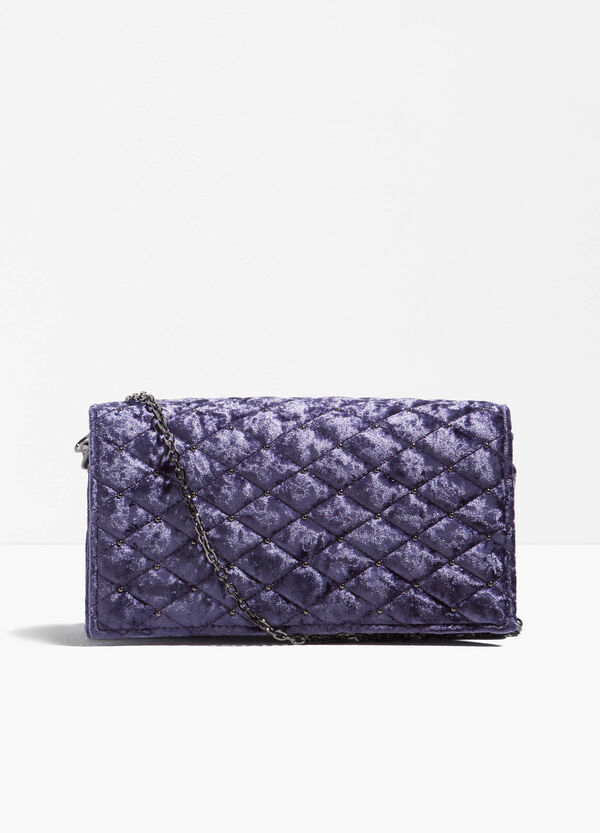 Quilted clutch bag with chain