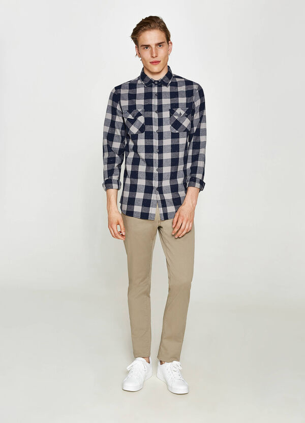 Casual shirt in check patterned flannel