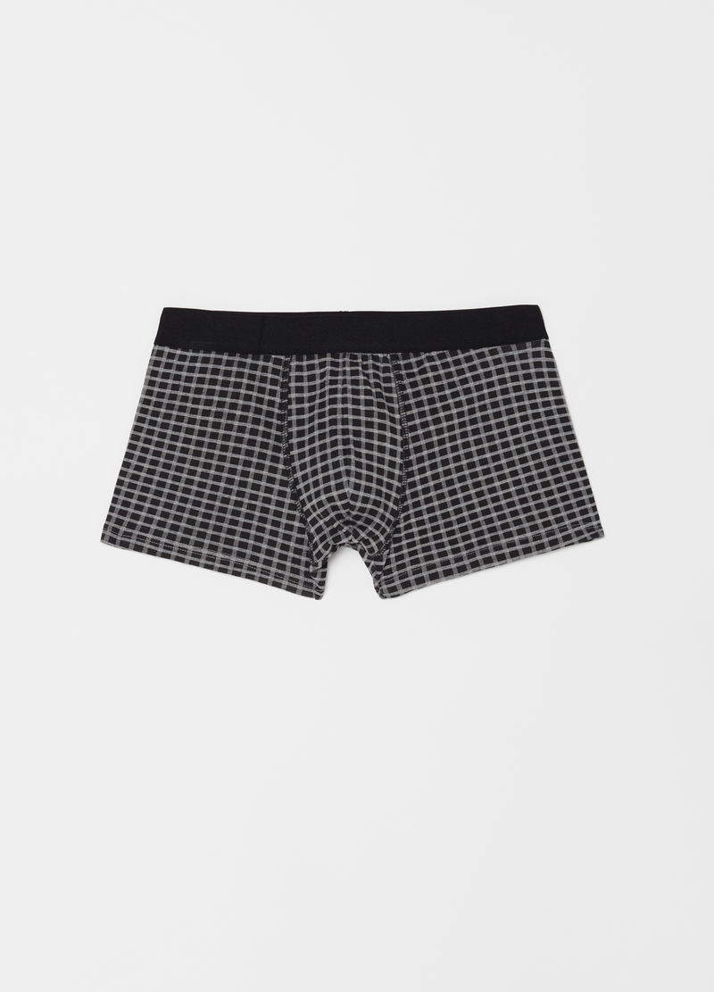Three-pack solid colour and check stretch boxer shorts image number null