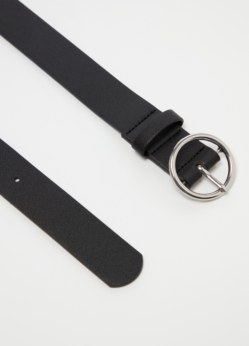 Solid colour belt with round buckle image number null