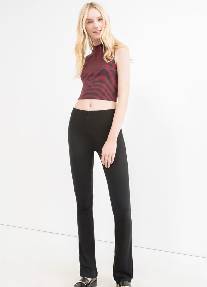 Solid colour stretch viscose leggings