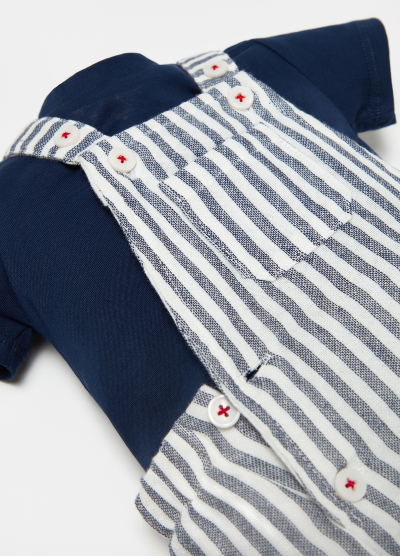 Striped dungarees and T-shirt set image number null