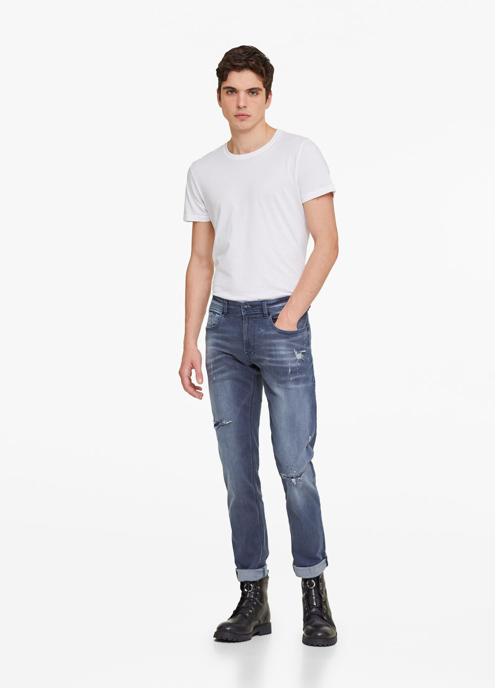 Jeans slim fit used con rotture