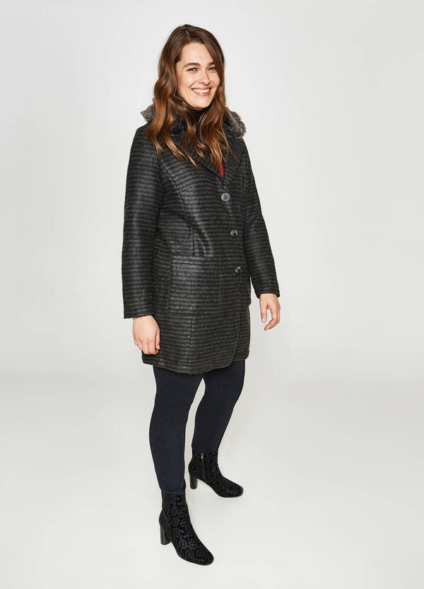 Curvy striped wool blend coat