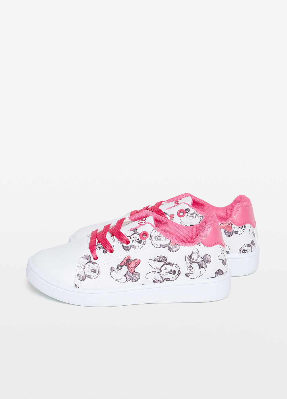 Patterned sneakers with Minnie embroidery