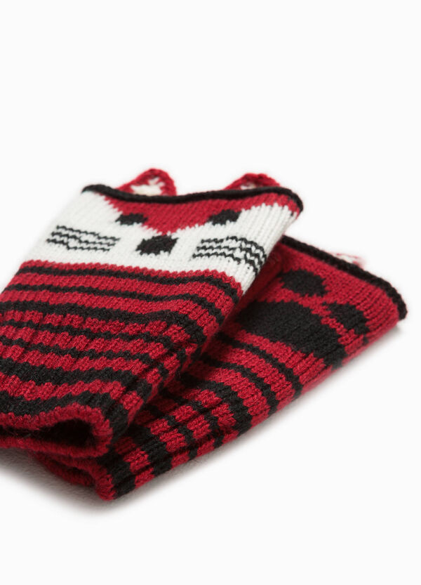Fingerless gloves with striped embroidery