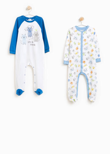 Two-pack printed and patterned cotton onesies
