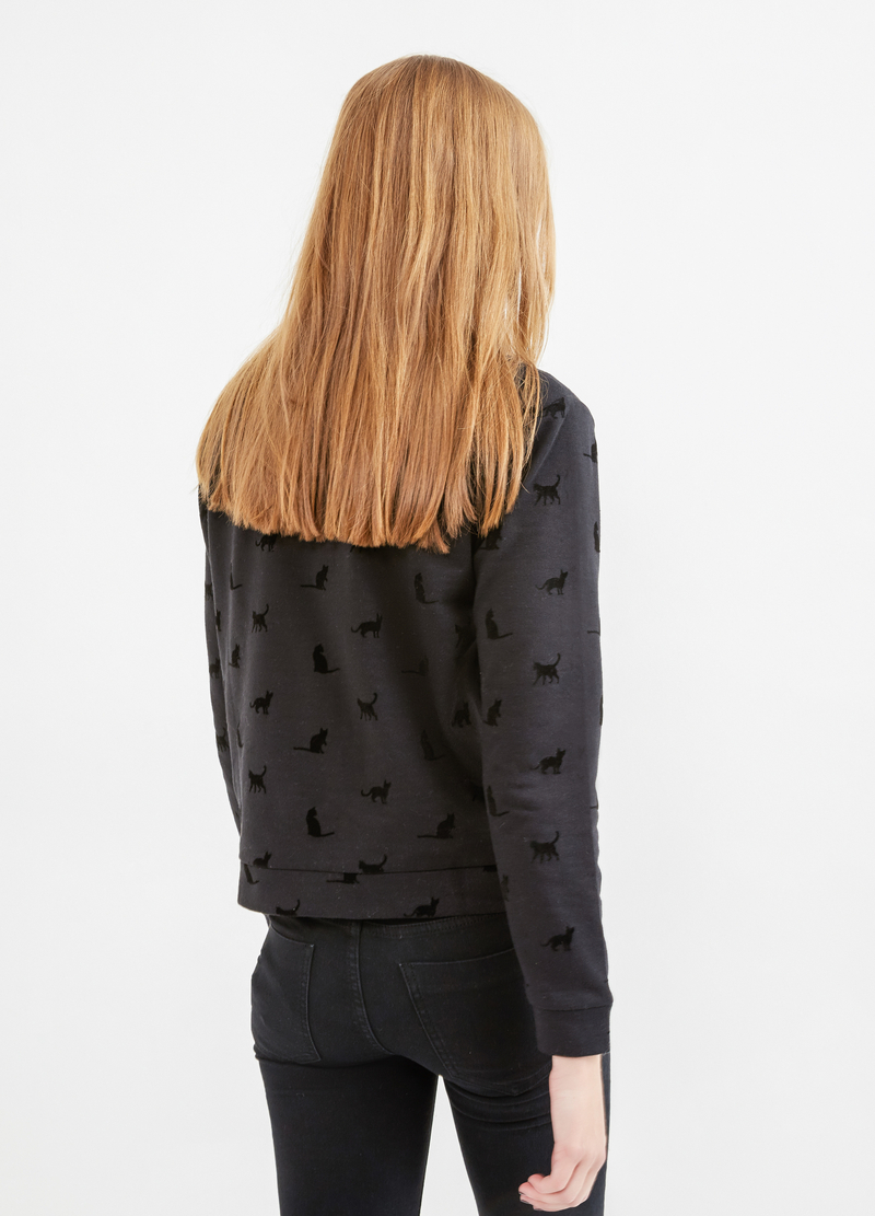 Round neck cotton sweatshirt with print image number null