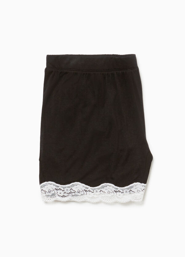 Stretch pyjama shorts with lace