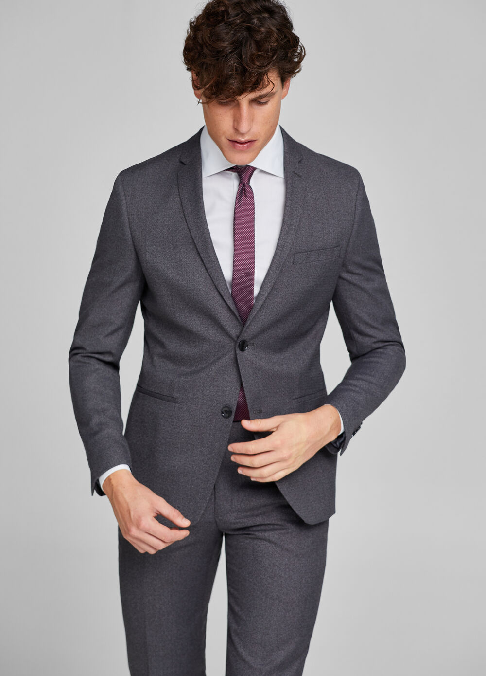 Mélange suit in textured fabric